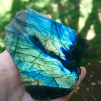 Beautiful Labradorite Slab with Polished Side | Energetic Protection | REIKI | Crystal Healing