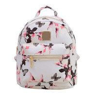 Lovely Women Floral Printing Backpack High Quality PU Leather Travel School Bag for Teenagers Backpacks Women Mochila Feminina