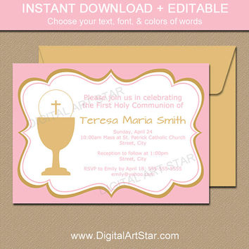 Pink and Gold Girl First Communion Invitation Download - First Communion Invites - First Communion Party Supplies - First Communion Cards