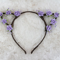 Lavender Cat Ears - Flower Cat Headband - Cat Ears Headband - Kitty Ears -  Coachella Festival - Kitten Play Ears - Petplay - Kittenplay