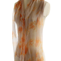 Mauve grey burnt orange print naturally dyed scarf, chiffon silk scarf elderberry onion dyed, gift for her