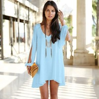 Long-sleeved chiffon dress GG716CE (L, sky blue)