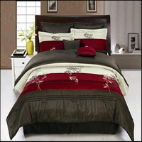 Portland Burgundy 12-Piece Bed in a Bag