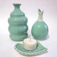 Vases and a heart candle holder mint green