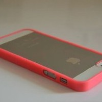 Supwiser-Lovely Soft Trim Ultra High Clear Back Hard Cover Bumper Case for iPhone 5 5G (*Hot Pink)