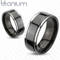 8mm Center Grooved 2-Tone Black IP Wedding Band Solid Titanium Men's Ring