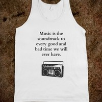 Music is the Soundtrack-Unisex White Tank