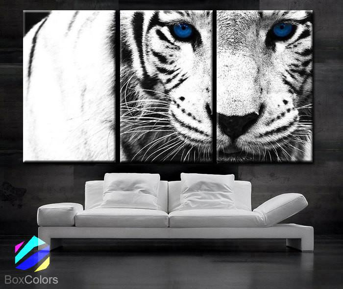 """Image of LARGE 30""""x 60"""" 3 Panels Art Canvas Print beautiful Snow Leopard animal Feline Wall Home Decor interior (Included framed 1.5"""" depth)"""