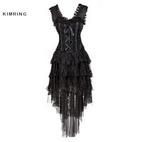 Kimring  Burlesque Queen Halloween Costume Lace Corset Dress Multi Layer Ruffle Lace Skirt Bustier Corset for