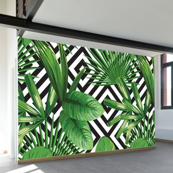 Palms Over Diamonds Wall Mural