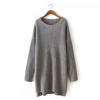 Grey Batwing Sleeve Slit Long Sweater