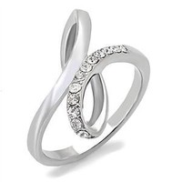 Women's Clear Crystal Infinity Knot Stainless Steel Ring