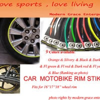 """10 Colors,18 Stripes 14""""-18"""" Wheel Rim Decal Sticker for Car & Motorcycle,Best Car Styling,Strong blister pack,"""