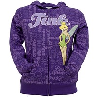 Tinkerbell - All-Over Sayings Girls Youth Zip Hoodie