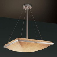 Justice Design Group CLD-9791-25-NCKL 18-Inch Square Bowl Pendant with Ring