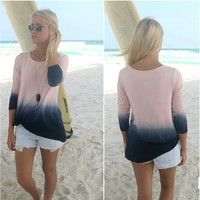 Beautiful Pink/Grey Ombre Tye Dye Print Spring Blouse Top