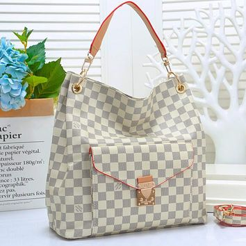 Onewel Louis Vuitton Big Bag LV Stacked layers Buckle Bag Women Shopping Bag Leather Crossbody Satchel Shoulder Bag White tartan