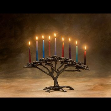 Tree of Life Menorah 9 Candle for Hanukkah Holiday or by Nelles