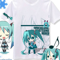 New VOCALOID 2 Miku Hatsune Anime Cutie White T-Shirt Tee All Size & Free Shipping TEE61WT