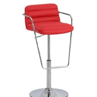 Red Ribbed Pattern Pneumatic Stool