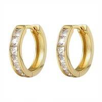 14k Gold Finish Princess Cut Stones Silver Hoop Earrings