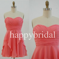 Elegant Lovely Sweetheart Bridesmaid Dresses Coral Prom Dresses Short Party Dresses Formal Party Evening Dresses 2014 Wedding Occasions