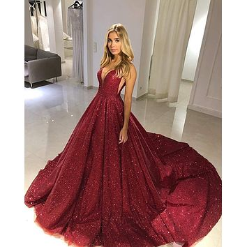 Glittering Gold Sequin Evening Dresses 2020 Backless Evening Party Gowns V-neck Sparkle Burgundy Ball Gown Prom Dress