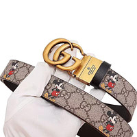 GG leather belt with decorative leather belt casual collocation G buckle trouser belt Gold