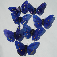 Butterfly Hair Clips cobalt blue feather butterfly hand made hair clips Butterfly Accessories by Ziporgiabella