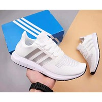 Adidas Tubular Shadow Fashion Men Women Casual Knit Breathable Sport Running Shoes Sneakers White