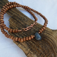 Boho Necklace, Wood and Agate Beaded Necklace, Yoga Necklace, Women's Necklace, Men's Necklace, ColeTaylorDesigns