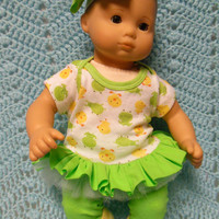 """AMERICAN GIRL Bitty Baby Clothes """"Pond Friends"""" (15 inch) doll outfit  dress, leggings, booties/ socks, and hair clip ducks frogs"""