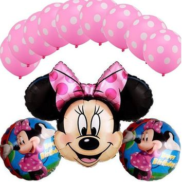 13Pcs/lot Minnie Mickey Kitty Sofia Helium Foil Balloon & Latex Balloon for Baby Shower Kids Birthday Party  Wedding Decoration