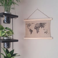 World Map Tapestry 9''x12'', Hanging Burlap Wall Tapestry, Wall Picture, World Print, World Picture, Burlap Print, Burlap Picture