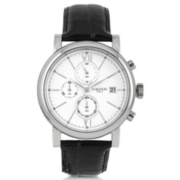Forzieri Designer Men's Watches Baviera Silver Tone Stainless Steel Case and Black Embossed Leather Men's Chrono Watch