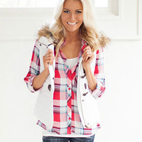 White Puffy Fur Vest with Plaid