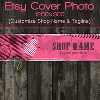 Etsy Shop Cover Photo 1200x300, Premade Abstract Heart Design,Pink and Black, Customize Shop Name, Looks Great on Mobile Devices, Style 2