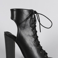 Liliana Corset Lace Up Peep Toe Mule Chunky Heel