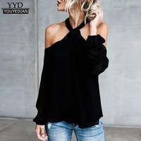 2017 Womens Off Shoulder Halter Neck Blouses Autumn Long Sleeve Casual Low Cut Twisted Halter Tops Blouse Black White *1016