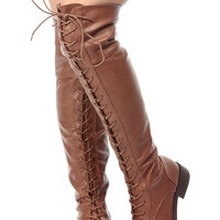 Chestnut Faux Leather Thigh High Lace Up Combat Boots