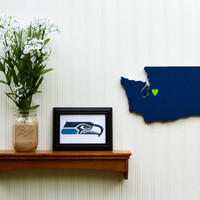 """Seattle Seahawks """"State Heart"""" wall art, handcrafted wood with official team colors"""