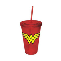 Wonder Woman Logo Travel Cup With Straw