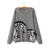 Gray Sequins Tassel Zebra Pattern Knitted Sweater