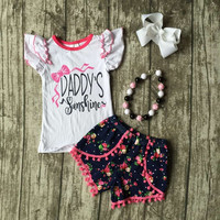 Fashion Spring Summer Girl Boutique Baby Flutter Sleeve Tops floral shorts Daddy's Sunshine clothing with accessories