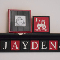 "FARM TRACTOR Wall Art Personalized for Baby Boy Nursery Decor,  30"" Black Shelf 8 Red / Black Letter Plaques Customized JAYDEN with Tractors"