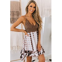 Endless Summer Tie Dye Ruffle Dress (Chocolate)