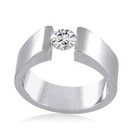 Women's Stainless Steel Cubic Zirconia Matte Finish Open Band Ring