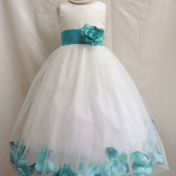 Flower Girl Rose Petal Dress Ivory with Teal for Easter Wedding Bridesmaid
