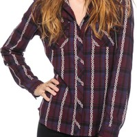 Empyre Bristol Blackberry Jacquard Hooded Flannel Shirt