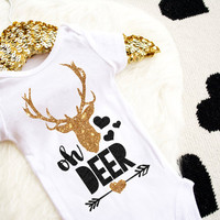 Oh Deer Shirt Baby Shower Gift Bodysuit Baby Girl Clothes Baby Girl Shirt Baby Clothes Baby Gift White And Gold #19